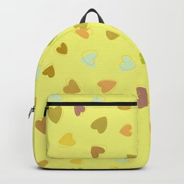 Love, Romance, Hearts - Yellow Green Brown Blue Backpack