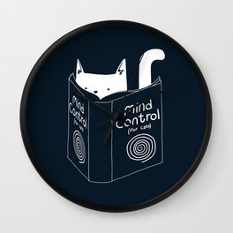 Mind Control For Cats (dark blue) Wall Clock
