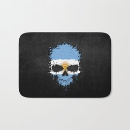 Flag of Argentina on a Chaotic Splatter Skull Bath Mat