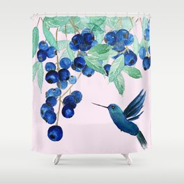 blueberry and humming bird Shower Curtain