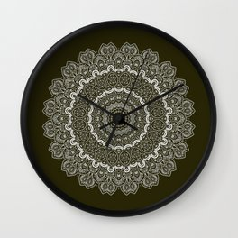 Thousands Nights Mandala on Dark Olive Green Wall Clock