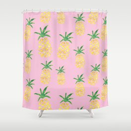 Pineapples Print - Pink Shower Curtain