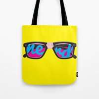 nerd Tote Bags featuring Nerd by Aaron Synaptyx Fimister