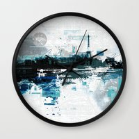 skyline Wall Clocks featuring Skyline by girardin27