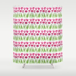 Tulip Garden Print in Shades of Fuchsia Pink and Green Shower Curtain