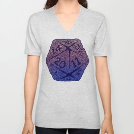 d20 - peach over navy blue - icosahedron for nerds  Unisex V-Neck