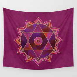 Rich Purpur And Gold Tribal Design Wall Tapestry