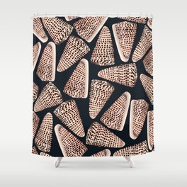 Cone Shell with Black Background Shower Curtain