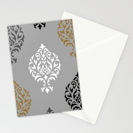 Orna Damask Ptn BW Grays Gold Stationery Cards