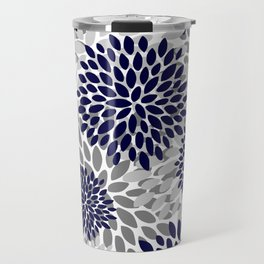 Floral Prints, Navy Blue and Grey, Art for Walls Travel Mug