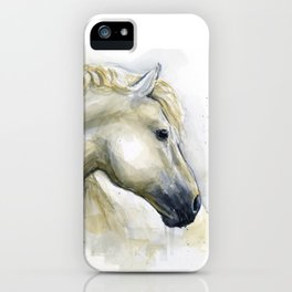 White Horse Watercolor Painting Animal Horses iPhone Case