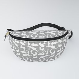 Rabbit Pattern   Rabbit Silhouettes   Bunny Rabbits   Bunnies   Hares   Grey and White   Fanny Pack