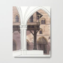 VIEW FROM PALAZZO DELLA MERCANZIA, Bologna Travel Sketch by Frank-Joseph Metal Print