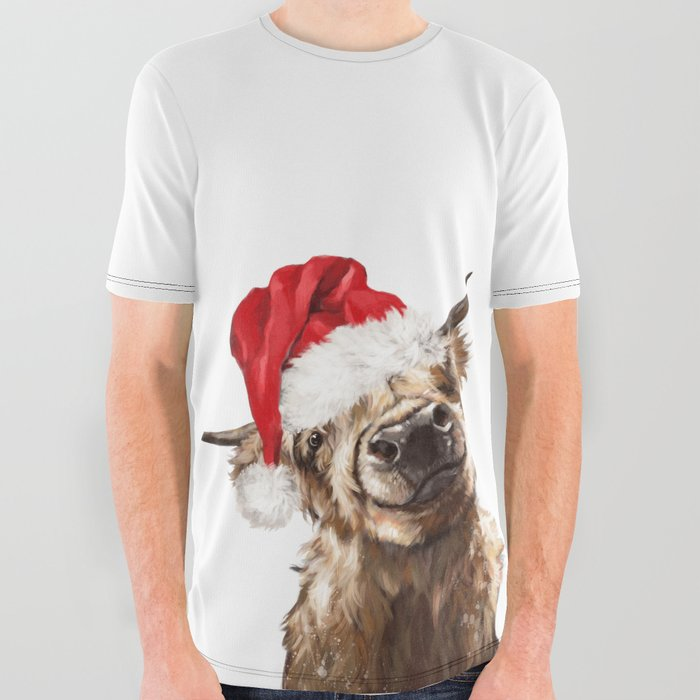 Christmas Highland Cow All Over Graphic Tee