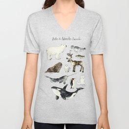 Arctic & Antarctic Animals Unisex V-Neck