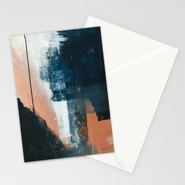 Vienna: a minimal, abstract mixed-media piece in pinks, blue, and white by Alyssa Hamilton Art Stationery Cards