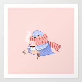 Cozy Canaries- Coffee Canary  Art Print