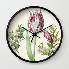 Tulip, two Branches of Myrtle and two Shells Wall Clock