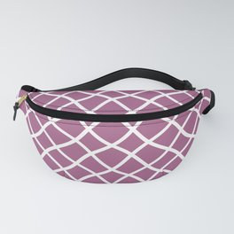 Mauve and white curved grid pattern Fanny Pack