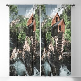 cabin lost in the waterfall Blackout Curtain