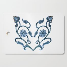 Blue Paisley Heart Cutting Board
