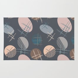 Comb and hand-mirror abstract with dark background Rug
