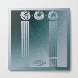 Charles Mackintosh inspired Art Nouveau teal Design,Charles Mackintosh,inspired ,Art Nouveau, teal Design,rose,flower,vintage,Belle epoque,pattern,elegant,chic Metal Print