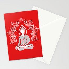 Meditation Buddha Mandala - red Stationery Cards