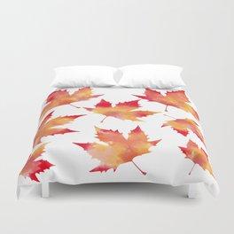 Maple leaves white Duvet Cover