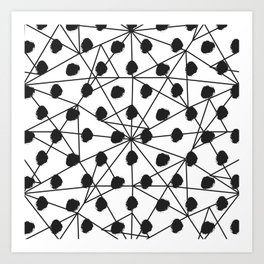 Geometrical black white watercolor polka dots Art Print