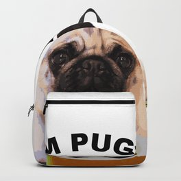 Cute Pug and Coffee Statement Shirt Backpack
