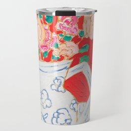 Delft Bird Pitcher on Red Background Travel Mug