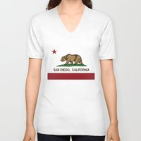 san diego V-neck T-shirts featuring California Flag San Diego by NorCal
