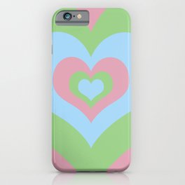 Radiating Hearts Pink, Blue, and Green iPhone Case