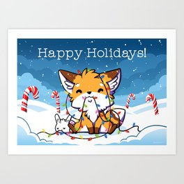 Happy Holidays From Little Fox And Bun Art Print