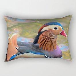 Beautiful Mandarin Duck at the Pond Rectangular Pillow