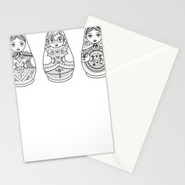 Russian Nesting Doll Line Art Stationery Cards