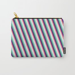 Vibrant Light Blue, Sea Green, Indigo, Light Coral & Mint Cream Colored Striped/Lined Pattern Carry-All Pouch