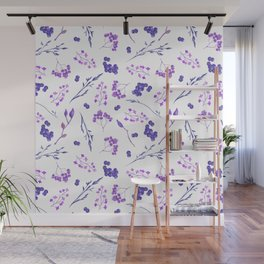 Violet lilac hand painted watercolor berries floral Wall Mural