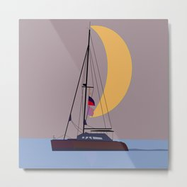 Boat in the middle of the night Metal Print