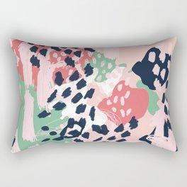Brooklin - abstract minimal pink coral navy painting home decor abstract charlotte winter art Rectangular Pillow