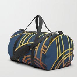 Art Deco Morning Sun In Navy Blue Duffle Bag
