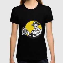 Bavarian Beer Drinker Mug Circle Woodcut T-shirt