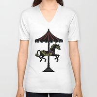 carousel V-neck T-shirts featuring Carousel Horse by Whimsical Notions Design