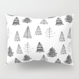 Trees Pattern Black and White Pillow Sham