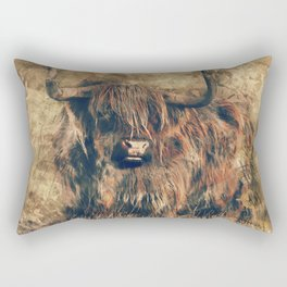 Highland Bull Art Rectangular Pillow