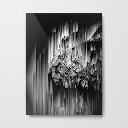 Haunted Static - Glitchy Abstract Pixel Art Metal Print