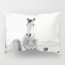 Winter Horse Landscape Pillow Sham