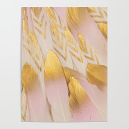 Gold Pink Arrow Feathers Poster