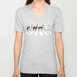 Llama The Abbey Road #1 Unisex V-Neck